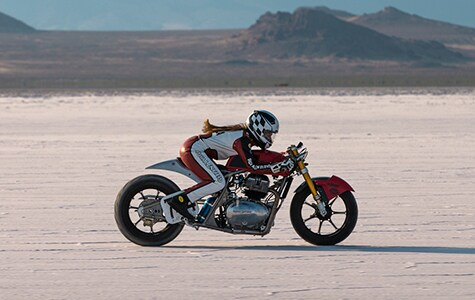 Royal Enfield at Bonneville Salt Flats